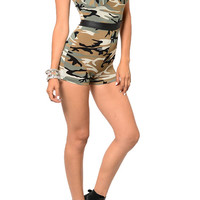 Green Tan Sexy Sleeveless Camouflage Mini Shorts Romper