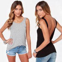 Deep V Sleeveless Backless Tank
