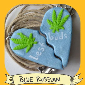 Blue Russian Best Buds Split Heart Pot Leaf Necklace Set