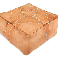 Square Moroccan Leather Pouf - Coffee