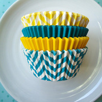 Turquoise and Yellow Cupcake Liners  Chevron by CakesAndKidsToo