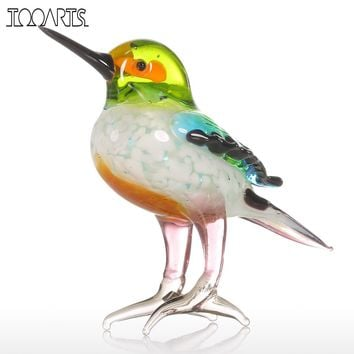Tooarts Gift Glass Animal Mini Statuettes Handblown Home Decor Multicolor Modern Tiny Bird Figurine Home Decoration Accessories