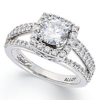 Diamond Ring, 14k White Gold Split-Band Lucia-Cut Diamond Engagement Ring (1-1/2 ct. t.w.) - Wedding & Engagement Rings - Jewelry & Watches - Macy's
