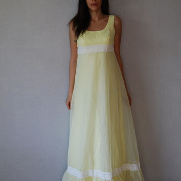 vintage 1960s SWISS DOT chiffon maxi dress