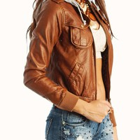 hooded-leather-jacket COGNAC IVORY - GoJane.com