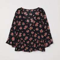 Flounced blouse - Black/Floral - Ladies | H&M GB