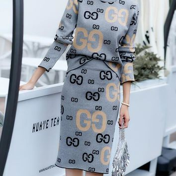 GUCCI Fashion Women Casual Jacquard Letter Half High Collar Knit Long Sleeve Sweater Top Skirt Set Two-Piece Grey