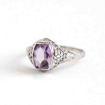 Vintage 14k White Gold Filigree Amethyst Ring - Antique Size 7 Art Deco 1920s February Purple Birthstone Gemstone Fine Flower Floral Jewelry