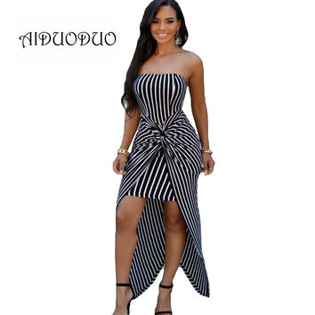2016 Summer Black And White Striped Elegant Bodycon Maxi Long Dress Womens Sexy Strapless Bandage Dress Party Night Club Dresses