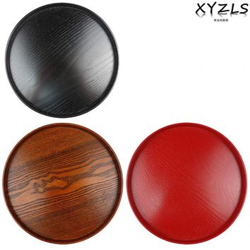 XYZLS Wood Round Tray Solid Food Plate Eco-friendly Tea/Dessert Tableware Natural Plywood Serving Plate Diameter 27/30/33cm