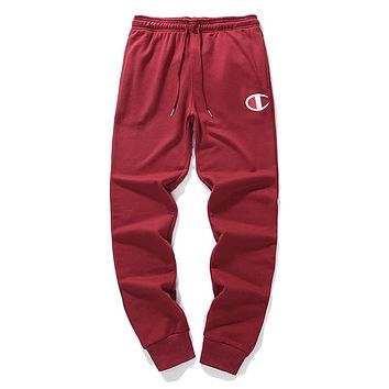 Champion autumn and winter new cotton men and women casual pants sweatpants red
