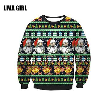 Unisex Sweaters Fashion Santa Claus Tree Reindeer Patterned Sweater Ugly Christmas Sweaters