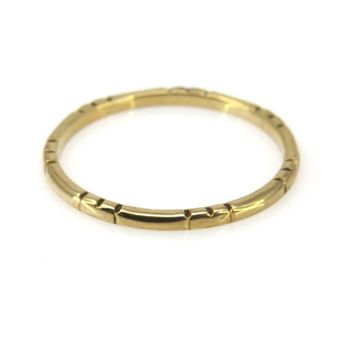 Thin Stackable Solid Gold Band Ring with Patterned Profile, Vintage, 1930s to 1980s