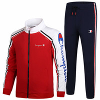 Champion 2018 autumn and winter new trend couples casual fitness running two-piece suit Red