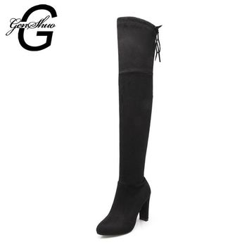 GENSHUO FauxSuede Women Boots Shoes Winter Knee High Boots Sexy Stretch Over The Knee