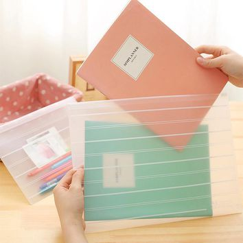 1pc Transparent office file holder a4 frosted file bag Ticket pocket big small size
