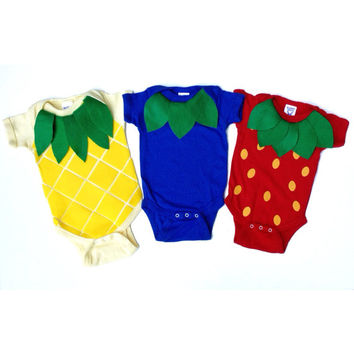 Fruit Salad Triplet Baby Costume, Food Onesuit Halloween Costume