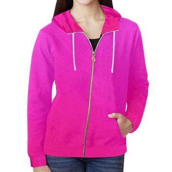 Pink Design 2 Women's All Over Print Full Zip Hoodie