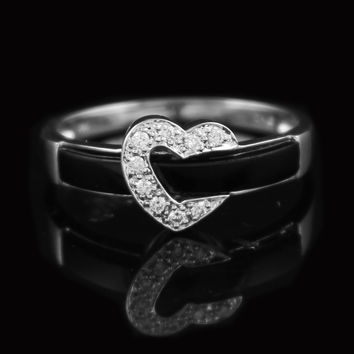 Ladies Black Onyx and Diamond Ring with Heart Design
