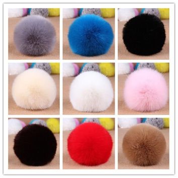 New Cute Genuine Soft Rabbit Fur Ball Handbag Key Chain Cell Phone Car Pendant  Home top = 1932352772