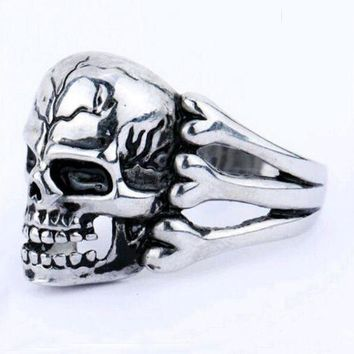 ac PEAPO2Q FAMSHIN 2016 Man's Ring Gothic Men's Skull Flower Biker Zinc alloy Ring Man fashion rings Free shipping