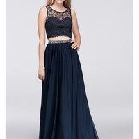 Lace Crop Top and Jersey Skirt Two-Piece Dress - Davids Bridal
