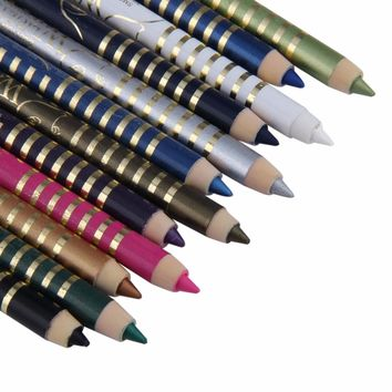 Professional 12 Colors/set Wooden Pole Eyeliner Gel Pen Eye liner Pencil Eye Cosmetics Permanent Dazzle Color Lasting Waterproof