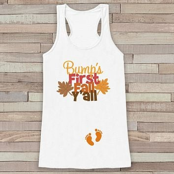 Fall Pregnancy Announcement Tank - Bump's First Fall Y'all - Pregnancy Reveal - Pregnancy Shirt - White Tank - Autumn Pregnancy Reveal Shirt