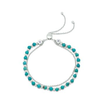 Rhodium Plated Double Strand Reconstituted Turquoise Bolo Bracelet