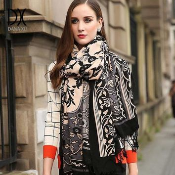 Cashmere Women Plaid Blanket Wool and Silk Scarf