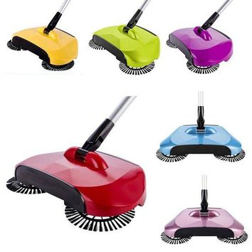 DCCKFS2 New Hand Push Sweeping Machine Stainless Steel Magic Broom Dustpan Handle Household Cleaning Hard Floor Sweeper Cleaner Tool