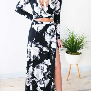 Takin' A Chance Floral Slit Maxi Skirt