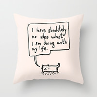 Little Cat Throw Pillow by Kitten Rain
