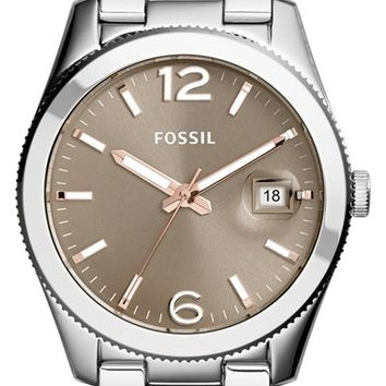 Women's Fossil 'Perfect Boyfriend' Round Bracelet Watch, 39mm - Silver/ Taupe