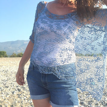 Hand knit blue top summer knit top denim beach cover up, cotton summer poncho, summer knitwear, denim poncho shrug cape, light weight poncho