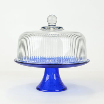 Vintage Cake Stand With Dome Lid and Blue Pedestal