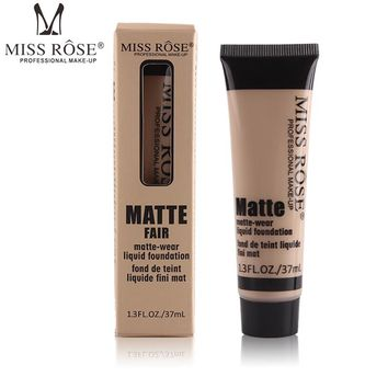 Miss Rose Brand Naked Makeup Concealer Repair Nourish Cover Face Makeup Liquid Foundation Professional Base Makeup 37ML