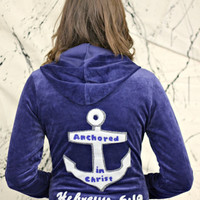 Anchored in Christ blue zip up