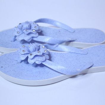 New women fashion flowers blue color jelly flip flop slippers sandals-size 9,10