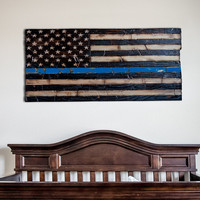Wood American Flag Thin Blue Line Police Force Edition Wood burned with chiseled stars