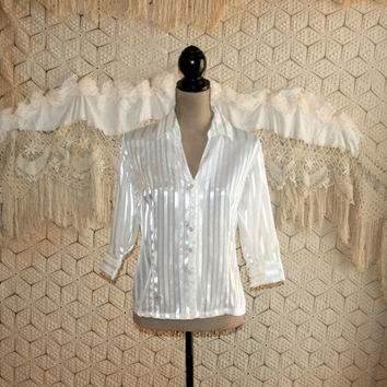 Vintage White Blouse Dressy Blouse Silver Metallic 3/4 Sleeve Top Tone on Tone Stripe Blouse 80s Blouse Petite Medium Large Womens Clothing