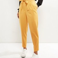 Yellow Tie Waist Tapered Trousers