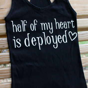 half of my heart is deployed v neck t shirt