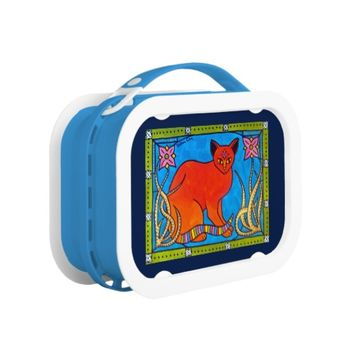 Indian Cat With Lilies Colorful Cat Design Lunch Box