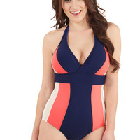 Colorblocking Halter High Tide Style One Piece