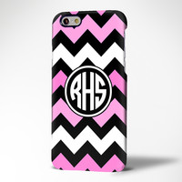 Pink Chevron Monogram iPhone 6 6 Plus 6 5S 5C 5 4 Protective Case #973