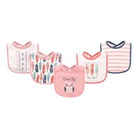 Pink & White Feather Bib - Set of Five