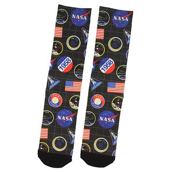Buzz Aldrin's Adult NASA Apollo Space Shuttle 1958 Logo 1 Pair Crew Socks Pack