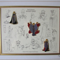 Disney Evil Queen From Snow White Pin Set and Model Sheet - Framed and Matted Limited Edition - Numbered