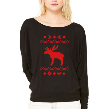 moose caribou reindeer deer christmas norwegian knitting pattern rudolph rudolf winter snowflake sno WOMEN'S FLOWY LONG SLEEVE OFF SHOULDER TEE